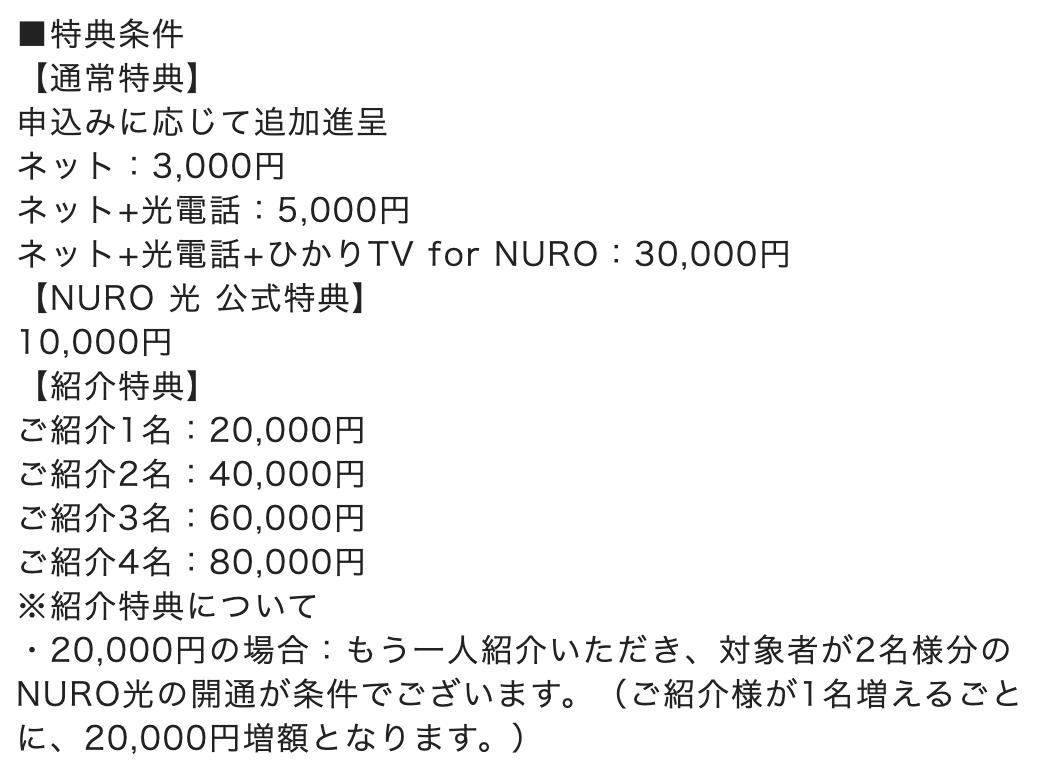 NURO光のキャッシュバック額