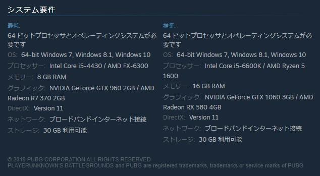 SteamのPUBGにあるシステム要件記載欄