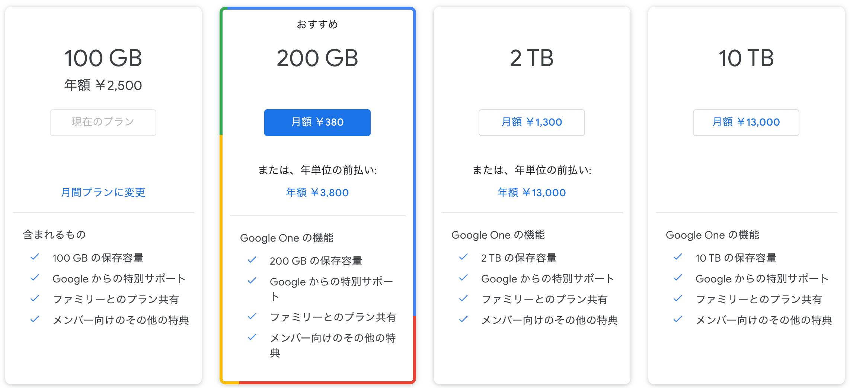 GoogleOneの料金の画像